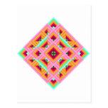 Edredón del diamante en rosa y verde tarjeta postal