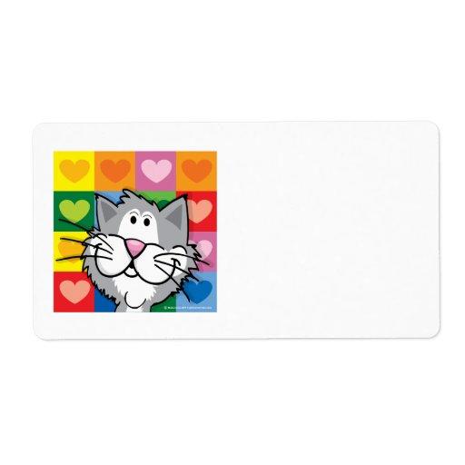 Edredón del gato de los corazones etiqueta de envío