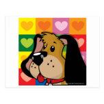 Edredón del perro de los corazones postal