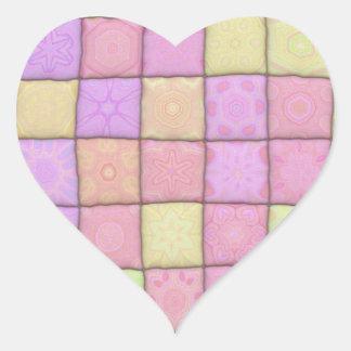 edredón en colores pastel 1 (I) Pegatina En Forma De Corazón