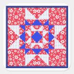 Edredón floral y de los puntos blanco y azul rojo pegatina cuadrada