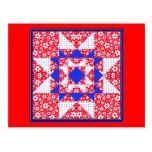 Edredón floral y de los puntos blanco y azul rojo postal