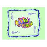 Edredón imaginario de los pescados tarjeta postal