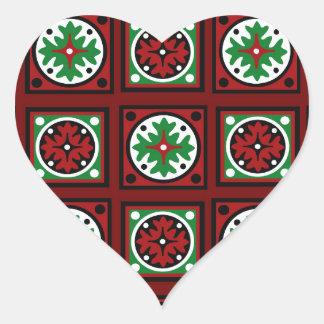 Edredón rojo del día de fiesta pegatina en forma de corazón