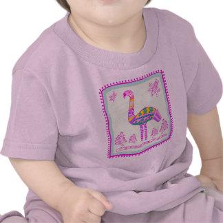Edredón rosado indio del flamenco camisetas