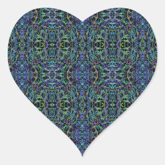 Edredón Trippy del verde azul geométrico Pegatina En Forma De Corazón