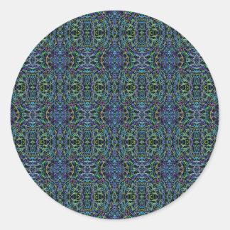 Edredón Trippy del verde azul geométrico Pegatina Redonda