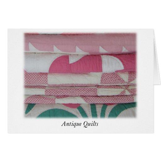 Edredones antiguos en rosa tarjeta de felicitación