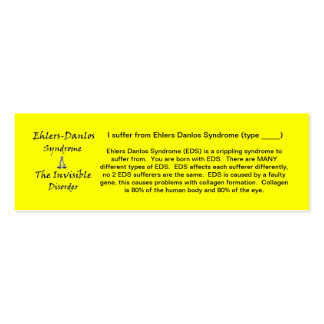 EDS Awareness - Skinny Double-Sided Mini Business Cards (Pack Of 20)