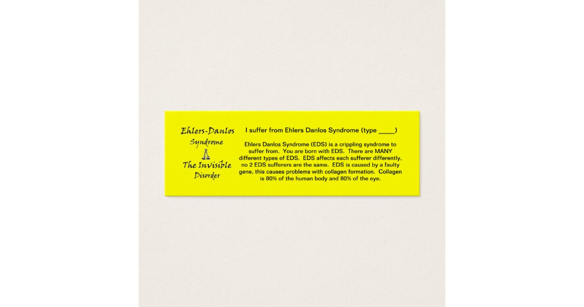 EDS Awareness - Skinny Mini Business Card | Zazzle.com