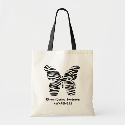 EDS Awareness Zebra Print Butterfly Tote Bag