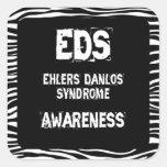 EDS Awareness Zebra Print Square Sticker