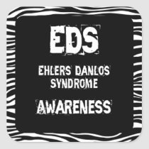 EDS Awareness Zebra Print Square Sticker