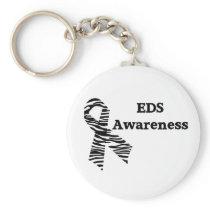 EDS Awareness Zebra Ribbon White Keychain