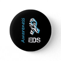 EDS Awareness Zebra Stripe Ribbon Button