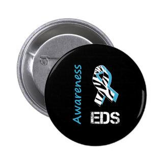 EDS Awareness Zebra Stripe Ribbon Button