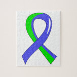 EDS Blue Lime Green Ribbon 3 Jigsaw Puzzle
