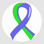 EDS Blue Lime Green Ribbon 3 Round Sticker