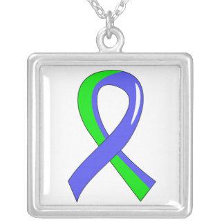 EDS Blue Lime Green Ribbon 3 Square Pendant Necklace