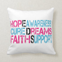 EDS Hope Cure Awareness Positive Words Pillows