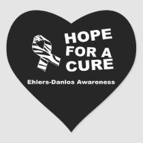 EDS Hope for a Cure Zebra Ribbon Heart Sticker
