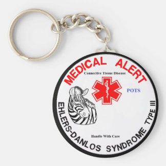 EDS Type 3 with POTS Medical Alert with Zebra Keyc Basic Round Button Keychain