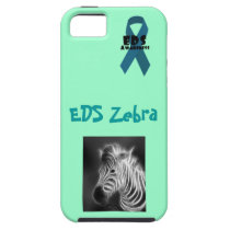 EDS Zebra with teal EDS Awareness ribbon and zebra iPhone SE/5/5s Case