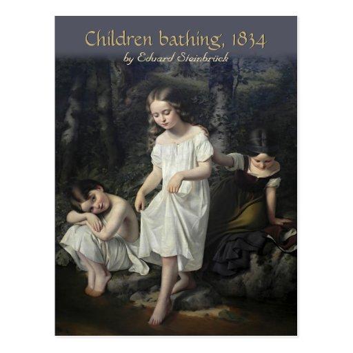 Eduard Steinbrück Children bathing CC0561 Postcard
