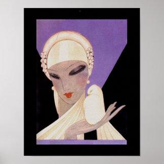 Eduardo Benito Art Deco Woman with Dove Poster