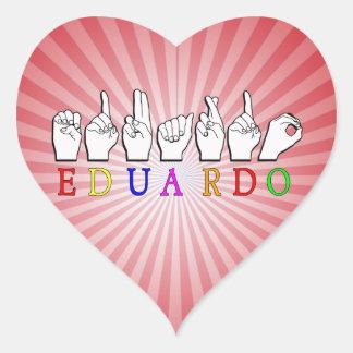EDUARDO NAME SIGN FINGERSPELLED ASL HEART STICKER