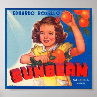 Eduardo Roselli Sunbeam VIntage Crate Label Poster