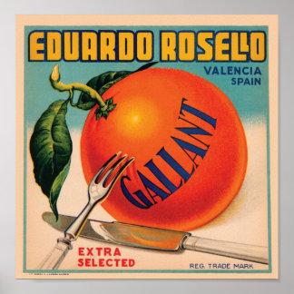 Eduardo Rosello Valencia Spain VIntage Crate Labe Poster