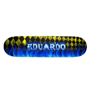 Eduardo skateboard blue fire and flames design