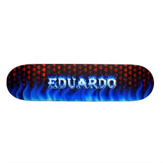 Eduardo skateboard blue fire and flames design