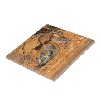 Eduardo Vuillard: Mujer delante de la chimenea Azulejo Cuadrado Pequeño
