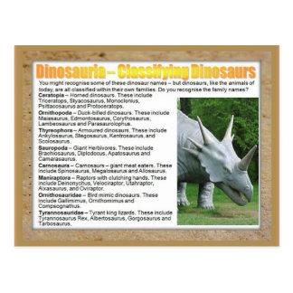 Educación, ciencia, clasificando dinosaurios postales