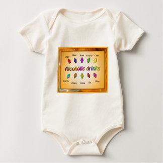 Educación, ciudadanía, bebidas alcohólicas traje de bebé