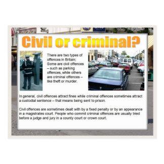 ¿Educación, ciudadanía, civil o criminal? Tarjeta Postal