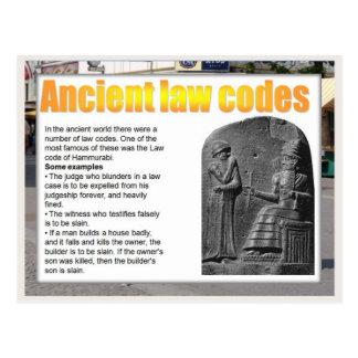 Educación, ciudadanía, códigos antiguos de la ley tarjeta postal