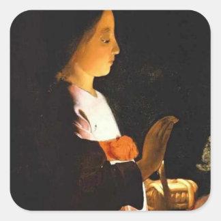 Educación de la Virgen (detalle) por el viaje de Pegatina Cuadrada