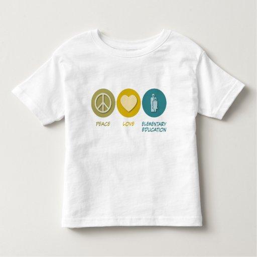 Educación elemental del amor de la paz tee shirts