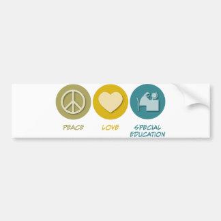 Educación especial del amor de la paz etiqueta de parachoque