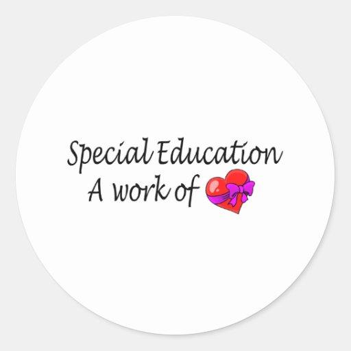 Educación especial, un trabajo del amor pegatinas redondas