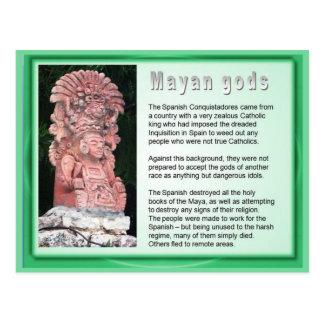 Educación, historia, dioses mayas postales
