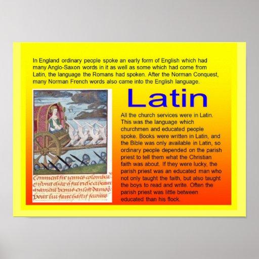 Educación, historia, uso medieval del latín póster