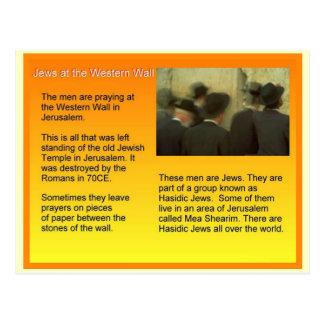 Educación, judaísmo, judíos en la pared occidental postal