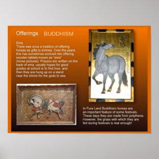 Educación, ofrendas del budista de la religión póster