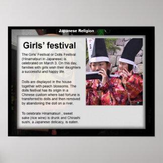 Educación, religión, festival japonés de los chica posters