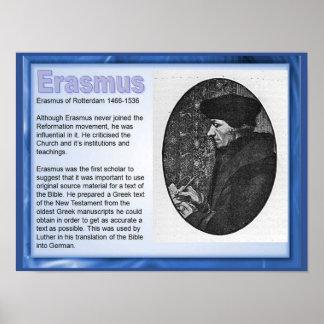 Educación, religión, historia, Erasmus de Rotterda Póster