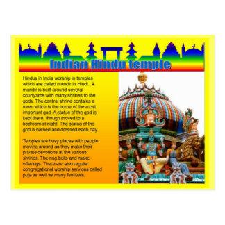 Educación, religión, templo hindú indio postales